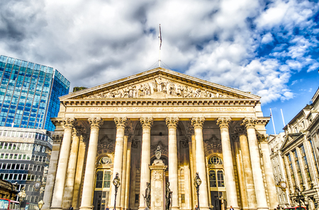 great britain: The Royal Exchange Building in the financial district of London, UK