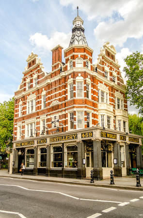 chelsea: LONDON - MAY 30: The Worlds End in Chelsea (London) on May 30, 2015. The building gives its name to the surrounding area at the western end of the Kings Road.