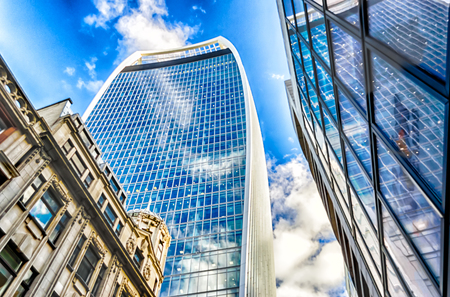 talkie: LONDON - MAY 29: The 20 Fenchurch Street aka Walkie Talkie building in London, May 29, 2015. The skyscraper is the fifth-tallest building in the City of London