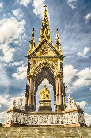 kensington: The Albert Memorial in Kensington Gardens, right in front of Royal Albert Hall, London, UK
