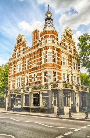 public houses: LONDON - MAY 30: The Worlds End in Chelsea (London) on May 30, 2015. The building gives its name to the surrounding area at the western end of the Kings Road.