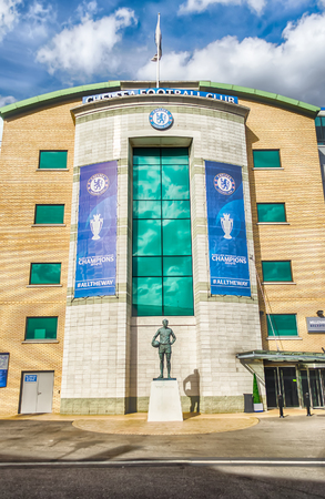 chelsea: LONDON - MAY 30: Stamford Bridge Stadium, Home of Chelsea Football Club on May 30, 2015 in London. Chelsea won the Champions League in 2012 Editorial