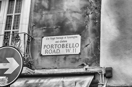 chelsea market: LONDON - MAY 31: Sign for Portobello Road on May 31, 2015, in London, UK. Portobello Road is the main market street in Notting Hill district Editorial
