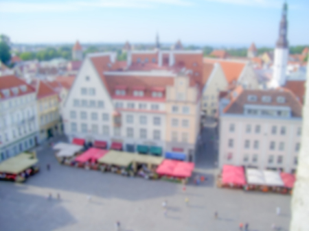 plats: Defocused Background of  Raekoja Plats in Tallinn, Estonia. Intentionally blurred post production for bokeh effect