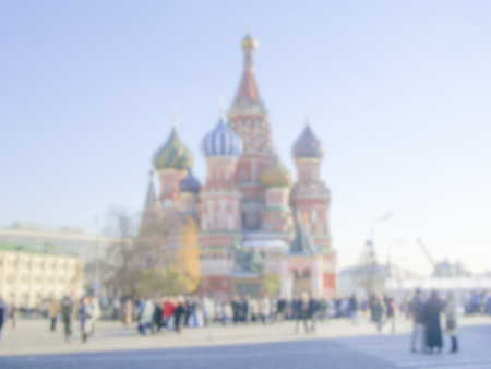 Defocused Background of St. Basils Cathedral in Moscow, Russia. Intentionally blurred post production for bokeh effect Фото со стока