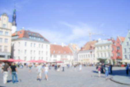 plats: Defocused Background of Raekoja Plats in Tallin, Estonia. Intentionally blurred post production for bokeh effect