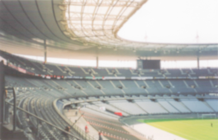 Defocused background of the Stade de France in Saint Denis, Paris. Intentionally blurred post production for bokeh effect Stock Photo