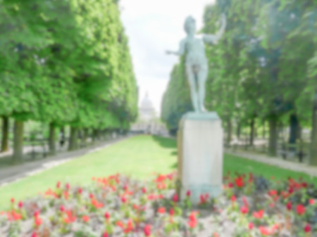 intentionally: Defocused background of the Luxembourg Garden in Paris, France. Intentionally blurred post production for bokeh effect