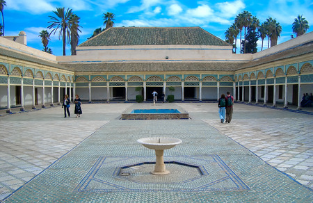 MARRAKECH - JANUARY 22: The back courtyard of the Bahia Palace in Marrakech on January 22, 2007. Built in the late 19th century, the building was intended to capture the essence of the Islamic and Moroccan style
