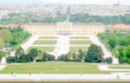 gloriette: Defocused Background with Schonbrunn Palace in Vienna, Austria. Intentionally blurred post production for bokeh effect Stock Photo