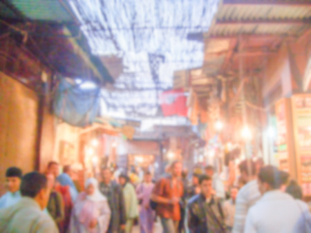 souq: Defocused background of a Souq, traditional market, in Marrakech, Morocco. Intentionally blurred post production for bokeh effect