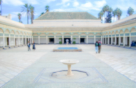 Defocused background of a courtyard in Marrakech, Morocco. Intentionally blurred post production for bokeh effect Stockfoto