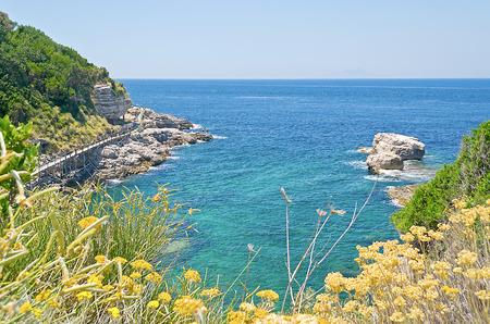sorrento: Beach in Sorrento Peninsula, Mediterranean Sea,  Italy Stock Photo