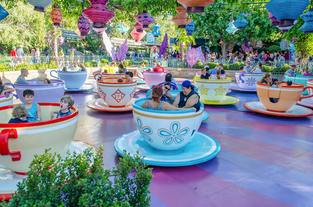 ANAHEIM, CALIFORNIA, AUGUST 27: Mad Tea Party attraction at Disneyland Park in Anaheim, California, on August 27, 2012. This is one of the oldest and most traditional attractions in the theme park Editorial