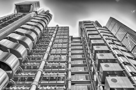 lloyd's: LONDON - MAY 29: The Lloyds building, aka The Inside-Out Building, a futuristic steel giant in London on May 29, 2015.