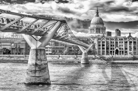 The Millennium Bridge against St Paul Cathedral, London, UK
