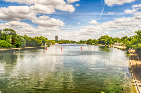 hyde: The Serpentine River in Hyde Park on a sunny day, London, UK