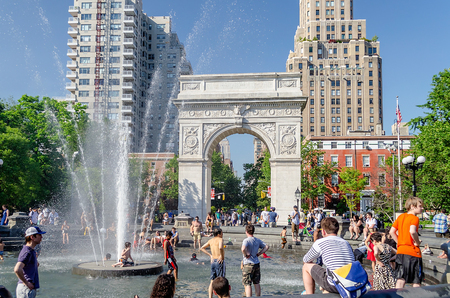 george washington: NEW YORK - JUNE 1: Washington Square Arch on June 1, 2013 in New York. The arch was built in 1892 to commemorate George Washington centennial inauguration as president.