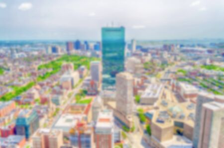 prudential: Defocused background with aerial view of Central Boston, USA. Intentionally blurred post production for bokeh effect