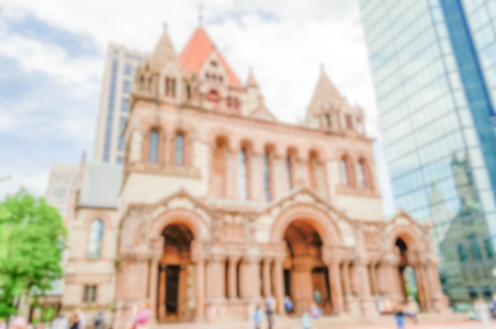 congregational: Defocused background of Trinity Church in Boston, USA. Intentionally blurred post production for bokeh effect Stock Photo