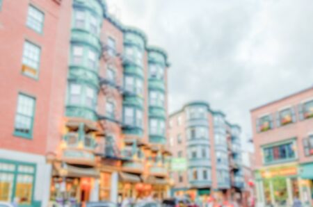 north end: Defocused background of North End district in Boston. Intentionally blurred post production for bokeh effect