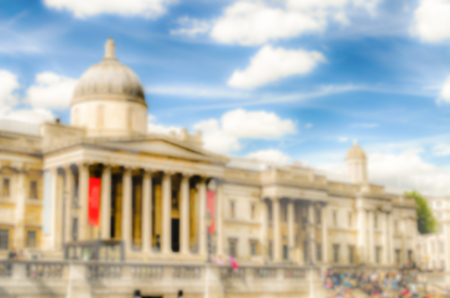 typically british: Defocused Background of The National Gallery of London, UK. Intentionally blurred post production for bokeh effect Stock Photo