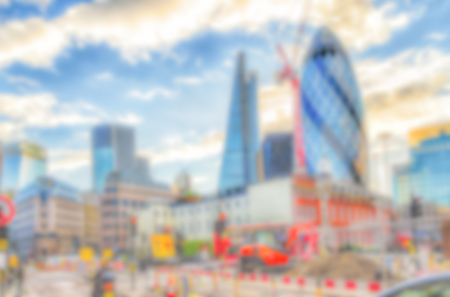 intentionally: Defocused Background of the London Skyline, UK. Intentionally blurred post production for bokeh effect Stock Photo