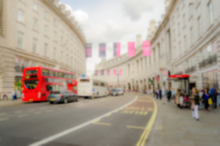 regent: Defocused Background of Regent Street in London, UK. Intentionally blurred post production for bokeh effect Stock Photo