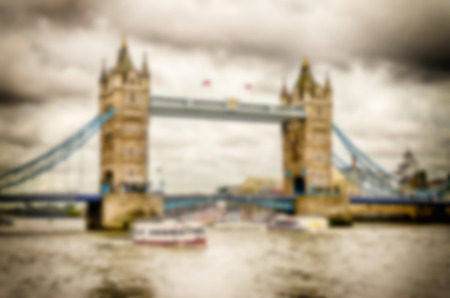 intentionally: Defocused Background of the Tower Bridge, London, UK. Intentionally blurred post production for bokeh effect Stock Photo