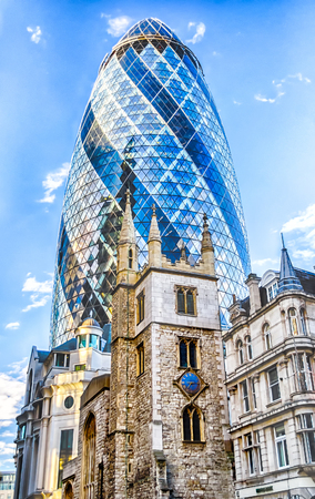 re design: LONDON - MAY 29: The Gherkin building (30 St Mary Axe) in London on May 29, 2015. Iconic landmark of London, this is one of the citys most widely recognized examples of modern architecture. Editorial