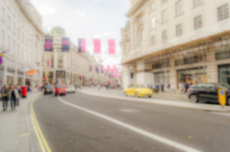 regent: Defocused Background of Regent Street in London, UK. Intentionally blurred post production for bokeh effect Stock Photo