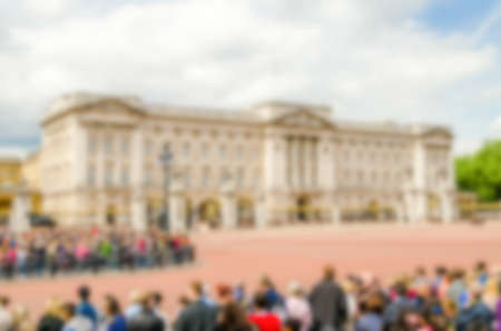 typically british: Defocused Background of Buckingham Palace, London, UK. Intentionally blurred post production for bokeh effect
