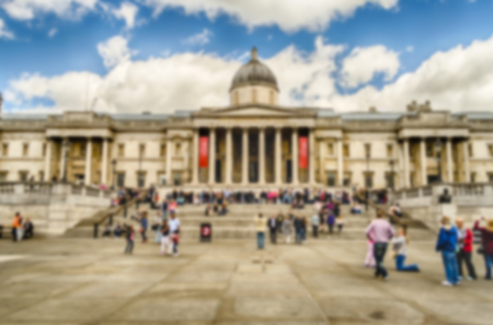 typically english: Defocused Background of The National Gallery of London, UK. Intentionally blurred post production for bokeh effect Stock Photo