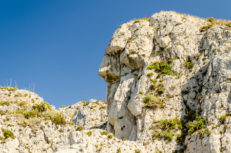anthropomorphic: Anthropomorphic rock on the coastline near Milazzo, Italy