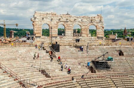 1st century: VERONA, ITALY - CIRCA MAY 2014: the Arena di Verona, Italy, circa May 2014. Built by the Romans in the 1st century AD, it is worldwide famous for the large-scale opera performances still given there Editorial