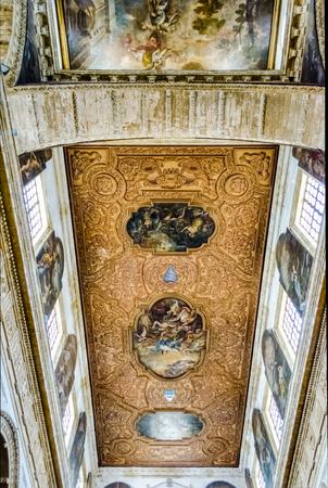 santagata: Interiors of the baroque SantAgata Cathedral in Gallipoli, Salento, Italy