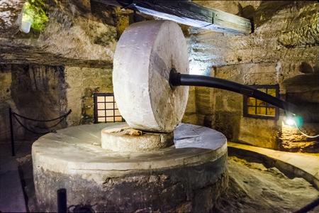 Disused ancient underground oil mill in Gallipoli, Salento, Apulia, Italy