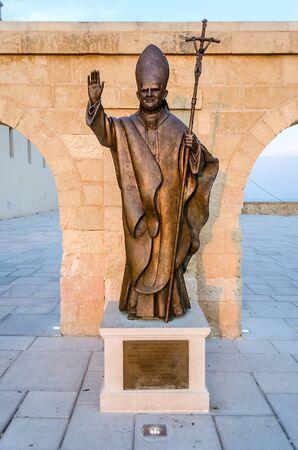 pontiff: Pope Benedict XVI bronze statue in Santa Maria di Leuca, Salento, Apulia, Italy