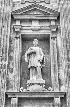 santagata: Detail on the baroque facade of SantAgata Cathedral in Gallipoli, Salento, Italy