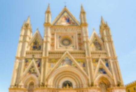 intentionally: Defocused background of the gothic Orvieto Cathedral, Italy. Intentionally blurred post production for bokeh effect