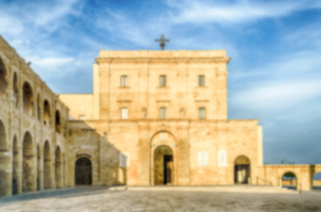 urbanistic: Defocused background with Sanctuary of Santa Maria di Leuca, in Salento, Apulia, Italy. Intentionally blurred post production for bokeh effect