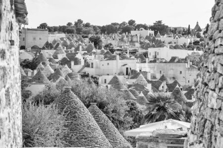trulli: Scenic panoramic view of Alberobello town and its typical trulli buildings, Apulia, Italy