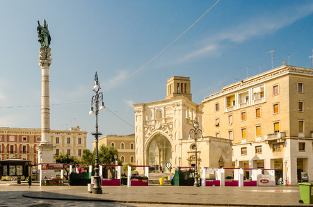 2nd century: LECCE, ITALY - AUGUST 8: the scenic SantOronzo square in Lecce, Apulia, Italy, August 8, 2015. The square features a roman amphitheatre built in the 2nd century
