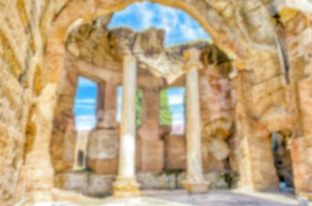 adriana: Defocused background with ruins of Villa Adriana (Hadrians Villa), Tivoli, Italy. Intentionally blurred post production for bokeh effect