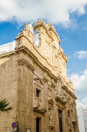 santagata: Baroque facade of the SantAgata Cathedral in Gallipoli, Salento, Apulia, Italy Stock Photo