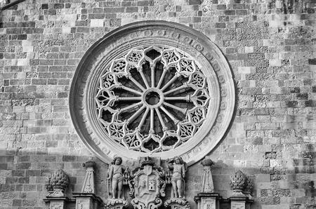 ecclesiastical: Rose Window of the Otranto Cathedral, iconic landmark in Salento, Italy Stock Photo