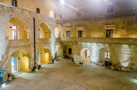 architectural architectonic: Inner Courtyard of the Otranto Castle at night, Salento, Apulia, Italy