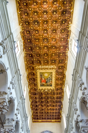 architectural architectonic: Church of the Holy Cross, interiors. Masterpiece of baroque art in Lecce, Salento, Italy Editorial