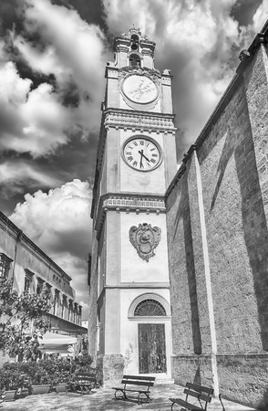 santagata: Bell and clock tower of the baroque SantAgata Cathedral in Gallipoli, Salento, Apulia, Italy Stock Photo