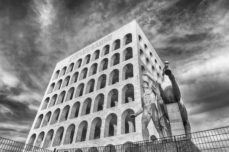ROME - MARCH 12: The Palazzo della Civilta 'Italian, aka Square Colosseum, in Rome, March 12, 2016. The monument lies in the EUR financial district in Rome
